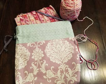 Knitting and Crochet Project Bag- Cotton Project Bag Paisley Purple and Blue Drawstring Tote