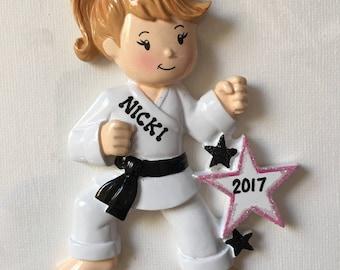 Black Belt Girl,Tae Kwon Do, Kung Fu, Judo Karate, Jujutsu, Fujitsu Sports-  Personalized Christmas Ornament