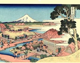 "Japanese Ukiyo-e Woodblock print, Hokusai, "" The Tea plantation of Katakura in Suruga Province"""