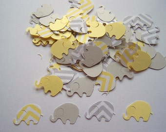 Elephant Baby Shower Yellow Chevron Elephant Yellow Gray Elephant Confetti Elephant Cut Out Elephant Theme Baby Shower Yellow Elephant