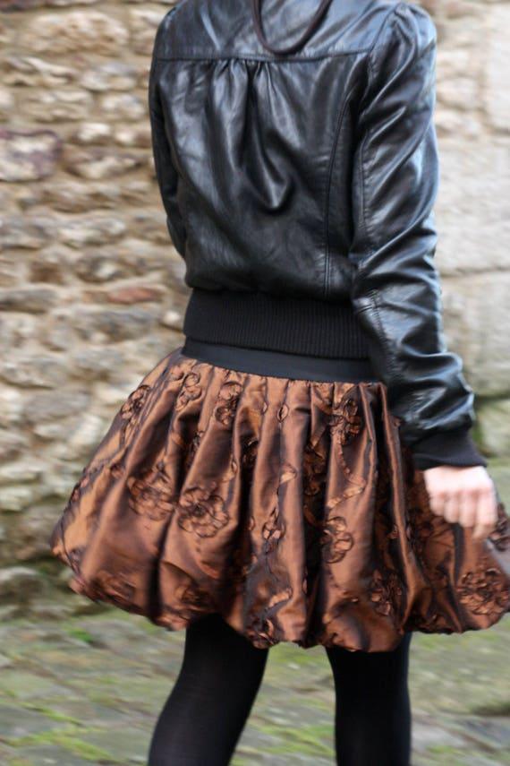Skirt ball copper taffeta Creation, applied embossed flowers. Festive balloon skirt