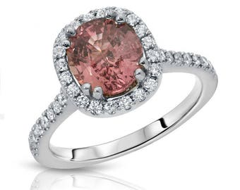 Natural Unheated 2.17 ct Padparadscha Sapphire and Diamond Ring