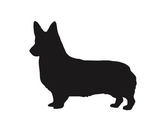 Corgi Dog v2 Silhouette Custom Die Cut Vinyl Decal Sticker - Choose your Color and Size
