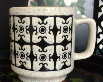 Vintage Midcentury Black and White Stoneware Mug Graphic Design Polynesian