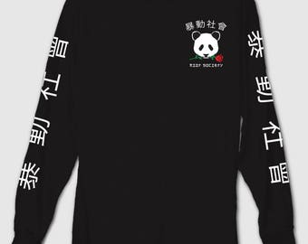 Black Panda Rose Long Sleeve T Shirt