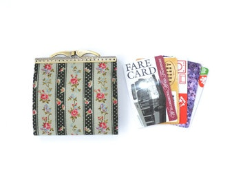Credit card holder wallet women Business card case Card organizer case Gift card wallet Vegan card holder Colonial fabric