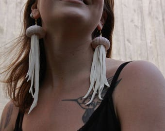 Handmade Pink Sea Urchin Fringe Earrings -White Leather Fringe Jewelry -Leather Earrings - Shell Earrings -Festival Jewelry Boho Accessories