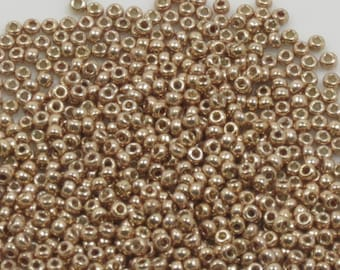 11/0 MIYUKI SEED BEADS -Duracoat Galvanized Champagne - #4204 - 10 grams - Japanese Seed Beads - Gold Seed Beads