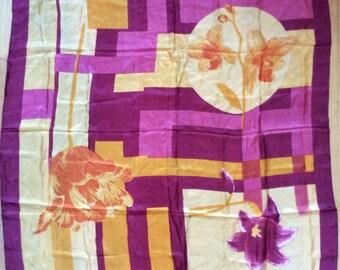 Vintage 1980s Oversized Huge Light Magenta/Purple Silk Scarf with Orange Flowers/Stunning