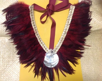Feather Neck Piece.. Perfect For Tahitian & Cook Island Dancers Of All Ages. For Both Male And Female!!