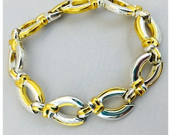 Napier Two Tone Silver and Gold Link Bracelet