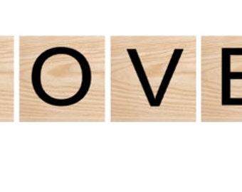 """Handmade wood letter tiles - personalized letter tiles 3.5"""" x 3.5"""""""
