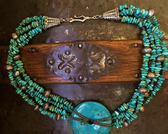 Turquoise Disc, Nuggets and Sterling Necklace