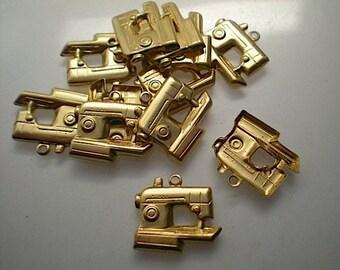 12 brass sewing machine charms