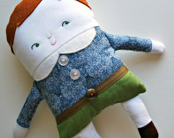 Brown Hair Two-Faced Friend Flip Boy Doll Dressed in Liberty Of London Fabrics - - Stuffed Toy - Boy Dolly - Double-Sided
