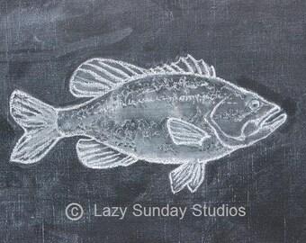 Bass Fish Digital Download Chalkboard Print 5x7 - Woodland Nursery Print- Nature Inspired Art