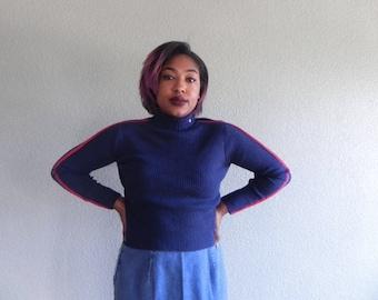 Mudd Navy & Red Ribbed Crop Turtle Neck Sweater