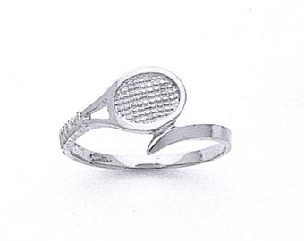 Sterling Silver Tennis Ring, tennis racket ring, tennis jewelry, tennis ring
