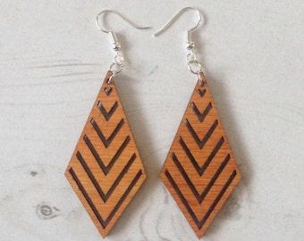 Laser Cut Geometric Wooden Diamond Earrings