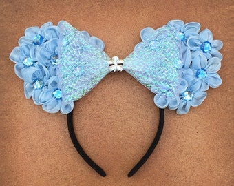 Cinderella Blue Flower Floral Minnie Mouse Ears.