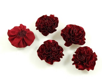 Set of 6 flower satin fabric and glitter - Red