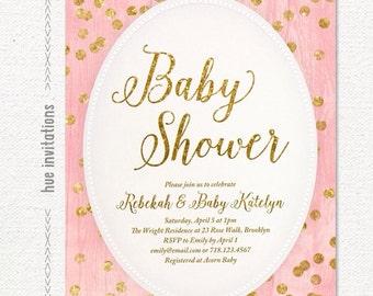 gold glitter blush pink baby shower invitation, gold confetti girl baby shower invitation, modern pink baby shower digital 5x7 invitation