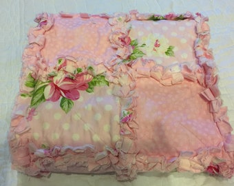 Baby Pink Patchwork Rag Quilt