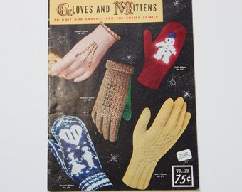 Vintage Gloves Pattern Book 1953 Gloves & Mittens to Knit Crochet 50's Mid Century Fashion Sewing DIY Cottage Chic