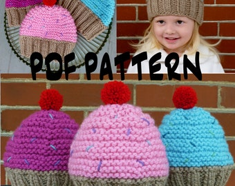 Baby hat pattern pdf knitting pattern baby girl hat pattern easy instant download cupcake hat knitting patternknit cupcake hat patternknit toddler hat patternknit kids hat patternknit girls hat pattern dt1010fo