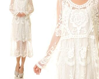 Boho Lace Dress | Bohemian Lace White | Lace Wedding Dress | Lace White Long Dress | White Lace Maxi Dress | Lace Boho Long Dress S/M 8189