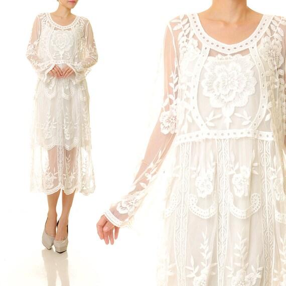 Non Traditional Wedding Dress Boho: Boho Lace Dress Bohemian Lace White Lace Wedding Dress