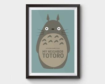 My Neighbor Totoro - A3/A4 movie poster art, print, film, illustration, kids art, studio ghibli, minimalist movie poster, anime, film poster