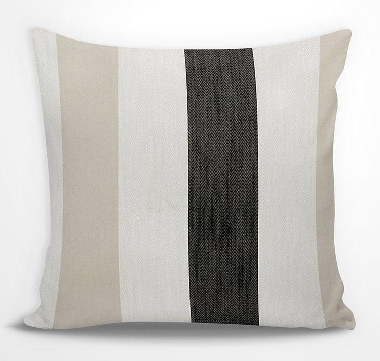 Beige Black Striped Euro Sham Cream Charcoal Black White