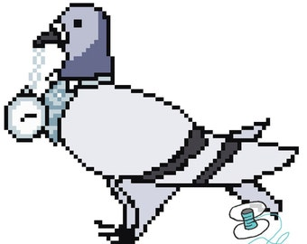 Dr Coo Pigeon Cross Stitch PDF Pattern - Inspired by the 8th Doctor (Dr Who)