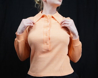 Vintage Ribbed Top with Collar, Dreamsicle Orange, Librarian Vibes