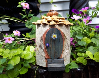 Mini Pixie Denim Oval Door on Woodland Fairy House with Pine Cone Shingle Roof