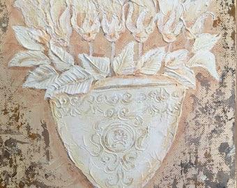 "White Roses In A Base - #2, original impasto Impressionism painting, 8"" x 10"" Yoko Collin, インペストオリジナル画"