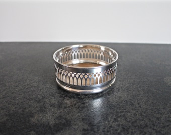Silver Wine Coaster, Made in England, Silverplate