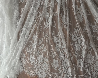 """Ivory Eyelash Lace Fabric Embroidered Bilateral Curtain Fabric Scalloped Edge 59""""  Wide 3 Meters Veil Gauze Tablecloth B0143"""