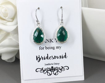 Clearance Emerald Earrings Drop Earrings Bridesmaid Earrings Bridesmaid Gift Jewelry Gift for Her Maid of Honor Emerald Dangles