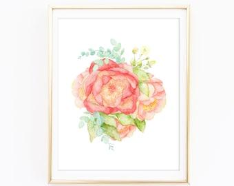 Watercolor Peonies & Eucalyptus - Watercolor Floral Print - Floral Nursery Print