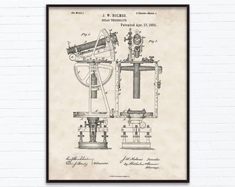 Solar Theodolite Patent Drawings-April Birthday Gift Ideas - Printable Posters of 4 Styles, INSTANT DOWNLOAD - 04/17/1883