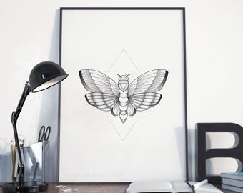 Moth Printable Art, Moth Illustration Digital Print, Black & White Dotwork Moth Wall Art, Moth Poster, Insect Printable Instant Download