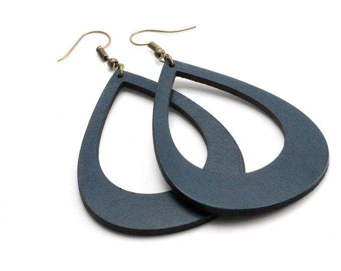 Large Statement Earrings, Teardrop Earrings, Cut-Out Leather Earrings, Fashion Earrings, Extra Long Earrings, Earrings for Women