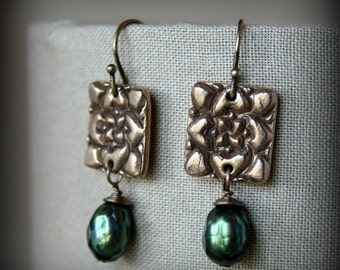 Art Deco Bronze Rose and Faceted Green Pearl Earrings