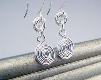 Silver Spiral Earrings, Nickel Free Earrings, French Wire Earrings, Silver Drop Earrings, Silver Dangle Earrings, Nickel Free Jewelry