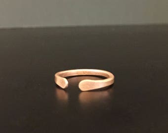 Handmade Hammered Copper Ring Adjustable