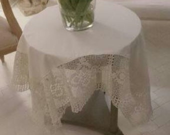 Crocheted White  Table-Cloth