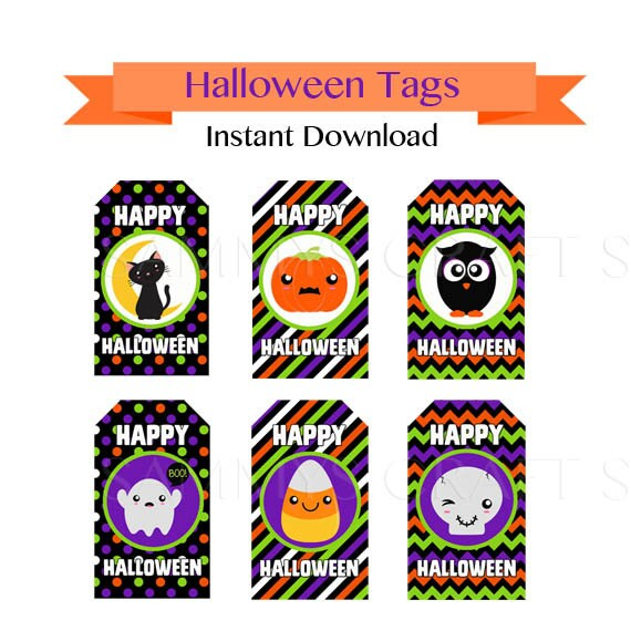 Printable halloween tags instant download halloween gift negle Choice Image