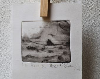 """Drypoint """"Home by the sea"""""""